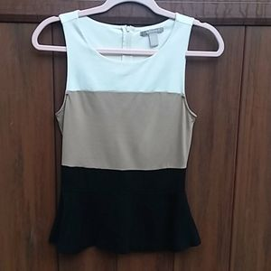 Banana Republic sleeveless peplum round neck top